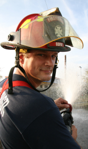 photo of dan sheppard in firefighting gear