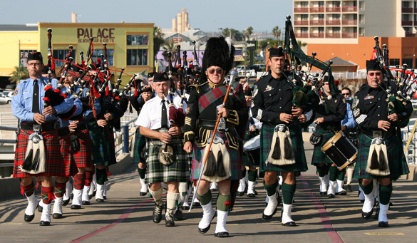 image of texas fire pipes & drums on the USS Lexington